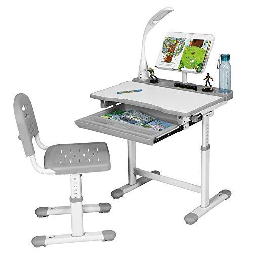 DREAMADE Kinderschreibtisch-Set Neigungs- und Höhenverstellbar, Kindertisch Schreibtisch mit Stuhl und Tischlampe, Schülerschreibtisch Computertisch Schreibtisch Set für Mädchen Jungen (Grau)