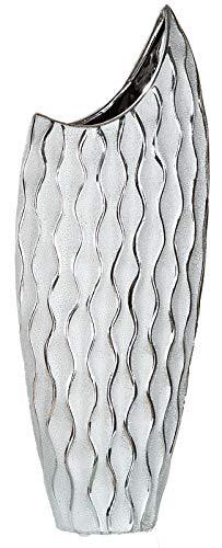 dekojohnson - Modern design keramische vaas Wave zilver grijs glanzend 46 cm hoog - Decovase halve maan als tafelvaas