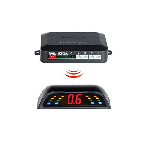 GISION Pantalla LED 4 sensores Sistema de estacionamiento del automóvil Detector de autos Inversor Radar de respaldo Sensores Parktronic Inalámbrico, 6 colores. (Color : Gray)