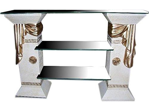 Antikes Wohndesign TV Rack Regal Fernsehschrank TV Schrank Glasregal Phonoregal HiFi Rack Vitrine Bücherregal Creme Beige Gold Griechische Möbel Höhe: 80cm