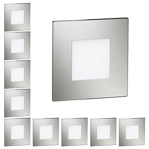 ledscom.de LED Treppen-Licht FEX Stufenbeleuchtung, eckig, 8,5x8,5cm, 230V, kaltweiß, 10 Stk.