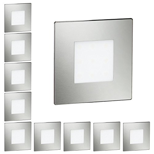 ledscom.de LED Treppen-Licht FEX Stufenbeleuchtung, eckig, 8,5x8,5cm, 230V, warmweiß, 10 Stk.