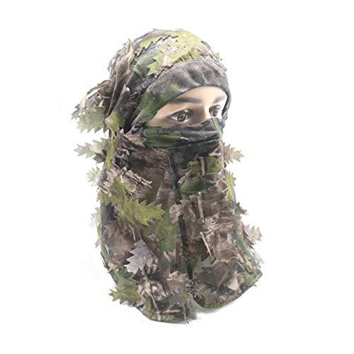 Ehemy Camouflage-Mütze, Vollgesichtsmaske, 3D-Realtree Camo Cap Balaclava Ghillie Truthahn Jagdausrüstung Zubehör (grüne Blätter)