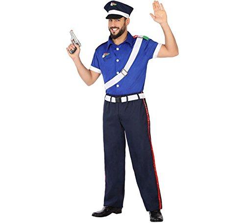 Atosa 54751 - Pantaloncini Police Man M-L, da uomo, blu/bianco