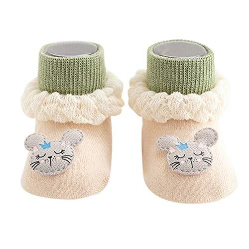 YWLINK Calcetines Antideslizantes para BebéS AlgodóN Grueso Y CáLido Bonitos Calcetines Deportivos para NiñOs Y NiñAs Lindo Calcetines para NiñOs PequeñOs Adecuados para 0-24 Meses (Caqui, S)