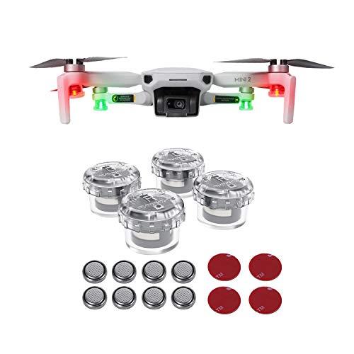Tineer Drone Strobe Lights 4-teiliges Set, Drohnen-Nachtfluglicht-Blitzlampe Kompatibel mit DJI Mavic Air 2 / Mini 2 / Mini/Mavic 2 / Mavic Pro/FIMI X8SE / Autel Evo / HS720-Drohne