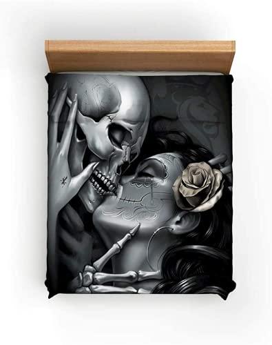 Amacigana Juego de ropa de cama 3D, diseño de calaveras y rosas, ultrasuave, microfibra lavada, juego de 3 piezas con cremallera (A2, 200 x 200 cm + 80 x 80 cm)