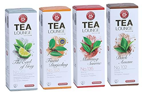Teekanne Tealounge Kapseln - Schwarzer Tee Sortiment mit 4 Sorten (32 Kapseln)