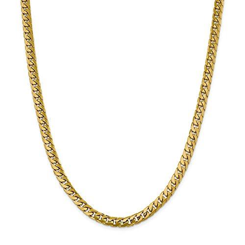 Collar de cadena cubana Miami de oro amarillo de 14 quilates, 6,25 mm, langosta de 60,96 cm para hombres y mujeres