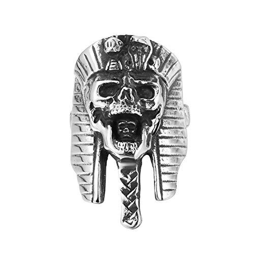Aienid Ringe Edelstahl Herren Silber Vintage Ägyptische Pharao Taro Punk Ring Ring Herren Size:67 (21.3)