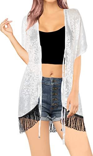 LA LEELA Mujeres de Gasa Praia de Encaje Corto Kimono Cardigan Ganchillo de La Vendimia Borlas Mini Vestido Exóticas Protector Solar Ropa de Playa Ghosts Blanco_Q642