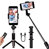 YOKKAO Upgraded Waterproof Selfie Stick with Detachable Wireless Bluetooth Remote Tripod Selfie Stick Extendable for iPhone 7 Plus/8/8 Plus/11/11 Pro/Xs Max, Galaxy S6/S7/S8/Note S9 Plus, Huawei
