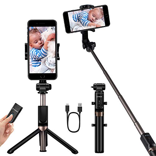 YOKKAO Upgraded Waterproof Selfie Stick Bluetooth Tripod Selfie Stick Extendable for iPhone 11, 11 Pro, 11 Pro Max,Xs Max, iPhone 8, iPhone 8 Plus, iPhone 7 Plus, Galaxy Note S9 Plus,S8,S7, S6, Huawei