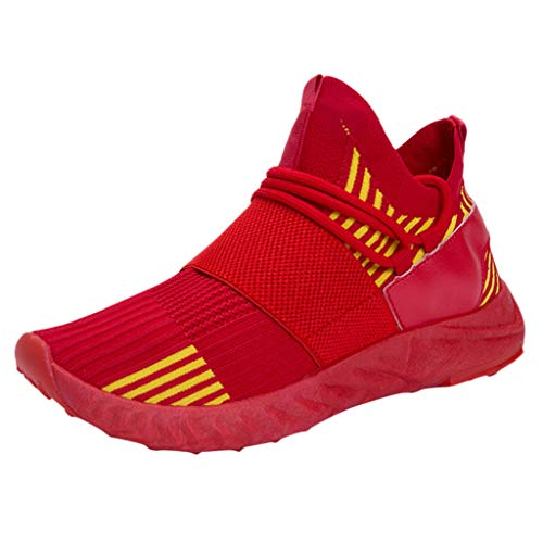 Leichte Laufschuhe für Herren/Skxinn Unisex Fitness Turnschuhe Atmungsaktiv rutschfeste Mode Sneaker Sportschuhe Outdoor Wanderschuhe Sneaker für Herren Damen Ausverkauf(Z3-Rot,44 EU)