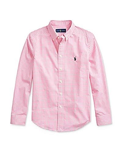 Ralph Lauren Polo Boys Gingham Short Sleeve Shirt (Medium 10-12) Pink