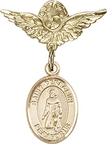 14kt Gold Baby Badge with St. Peregrine Laziosi Charm and Angel w/Wings Badge Pin St. Peregrine Laziosi is the Patron Saint of Cancer/Running Sores 1 X 3/4