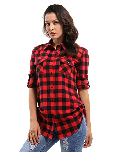 OCHENTA Women's Long Sleeve Button Down Plaid Flannel Shirt D056 Black Red L
