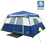 QT QOMOTOP 8 Person Tents for Camping, 60 Second Easy Setup, Waterproof Instant Cabin Tent, Provided Top Rainfly, Camping Tent with Advanced Venting Design