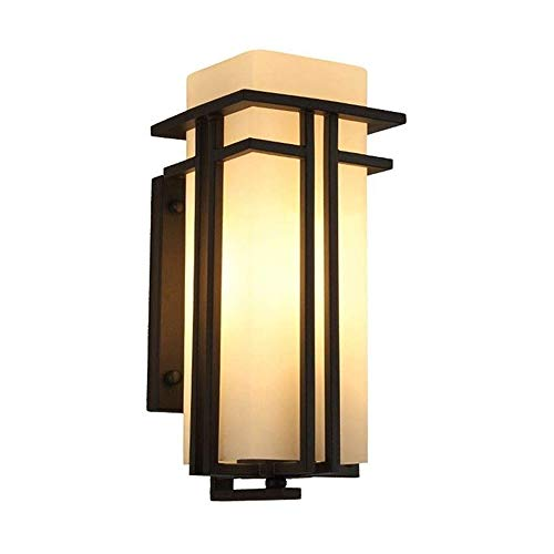 Lámpara de pared exterior retro japonés, lámpara de pared del jardín IP3 impermeable, lámpara de pared de cristal 5w, granero americano, lámpara de pared del pasillo, iluminación, lámpara de pared