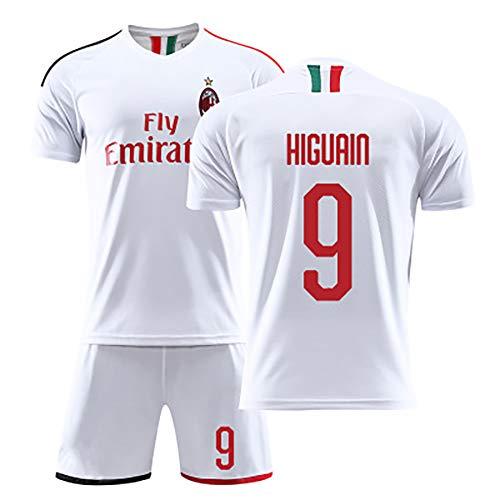 Fußball-T-Shirt für Erwachsene, Higuain Calhanoglu Kaka-Fußballtrikot, Milan-Fußballuniform, Besticktes Netzfußball-Trikot, Wiederholbare Reinigung, Anpassen-White9-M