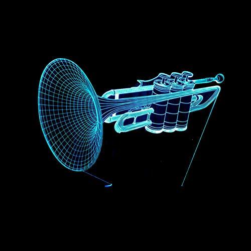 LIkaxyd LED 3D-nachtlampje, optische illusielamp 7 kleuren veranderen, Touch USB & batterij-aangedreven speelgoed decoratieve lamp, beste cadeau voor kinderen-Trompet
