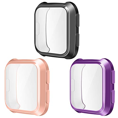 NANW Screen Protector Compatible with Fitbit Versa, 3-Pack TPU Rugged Bumper Case Cover All-Around Protective Plated Bumper Shell Full Screen Cover [Scratch-Proof] Compatible with Versa Smartwatch