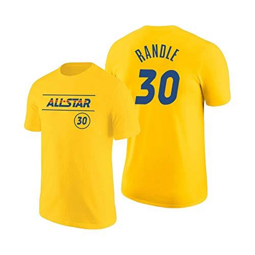 QPY Randle Baloncesto de Manga Corta para Hombres, Knicks de los Hombres Randle # 30 2021 All-Star Camiseta del Este Azul Verano Transpirable y cómodo (S-XXL) Yellow-XXL