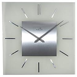 NeXtime 3148 Stripe Square Radio Controlled Glass Clock, 40 x 40 x 5.5 cm