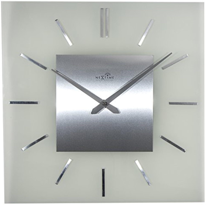 NeXtime Wanduhr  STRIPE SQUARE  RADIO CONTROLLED , Funkuhr, quadratisch, Glas Edelstahl, 40 x 40 cm