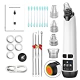 Blackhead Remover Pore Vacuum Cleaner,2021 Electric Black Head Pimple Vacume Removal Tool with Hot Compress,Comedone Acne Extractor-USB Rechargeable,5 Filter Sponges,1 Small Nozzle (White)