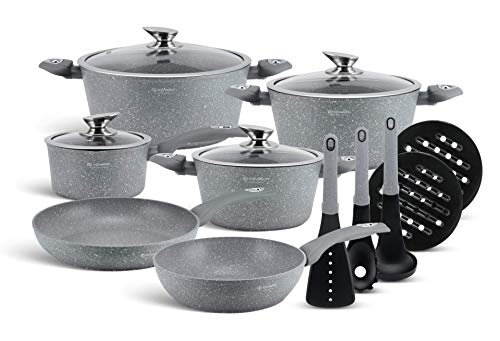 EDENBERG 15-Element-Set Marmortöpfe mit Topf, Pfannen und Küchenutensilien, Antihaftbeschichtung. Perfekt für Gas, Elektro, Halogen, Keramik und Induktionsherde (EB-5620)