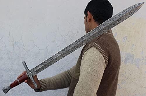 Custom Damascus Steel / Sword / Dagger / Celtic Sword 32' Long Blood GROOVED GLADIOUS Sword Machete Hunting Sword