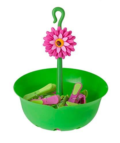VIGAR Flower Power - Cestino con 12 mollette per bucato, Colore Verde
