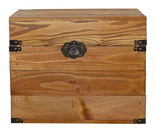 Moooble 1x braune Holzkiste mit Deckel | 45x35x35 cm | Neu | schöne Metallbeschläge und der Aufdruck 'Boulangerie' veredeln die Truhe