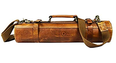 Leather Knife Roll Storage Bag | Elastic and Expandable 10 Pockets | Adjustable/Detachable Shoulder Strap | Travel-Friendly Chef Knife Case | Perfect Gift Idea by