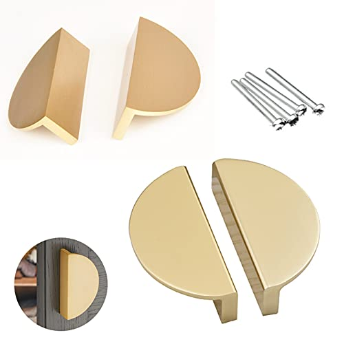 4 Pack Half Circle Moon Drawer Pulls, Alloy Cabinet Handles Kitchen Handles, Universal Cabinet Hardware Pulls with Screw for Kitchen Cabinets, Dresser Drawers and Modern Furniture Decoration (Gold)
