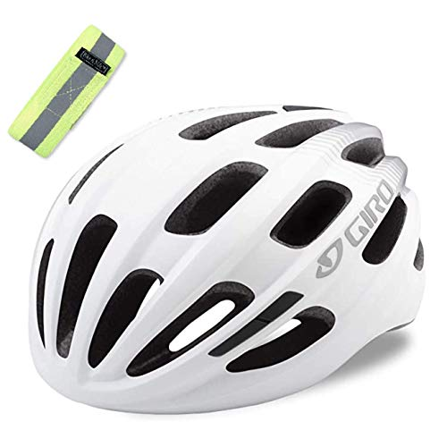 Bike A Mile Giro Helmet Giro Cycling Isode MIPS Adult Road Bike Helmet, Bicycle Helmet with A Reflective Safety Armband (Matte White (2021))