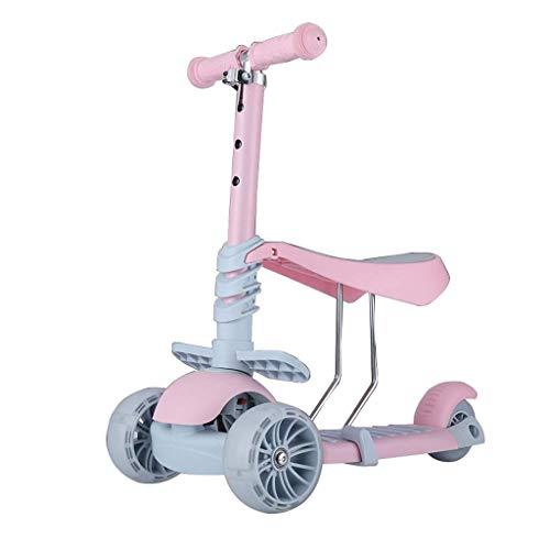 ZMDZA 2-in-1 Tretroller mit entfernbarer Sitz Ideal for Kinder & Kleinkinder Mädchen oder Jungen - weit Deck PU...