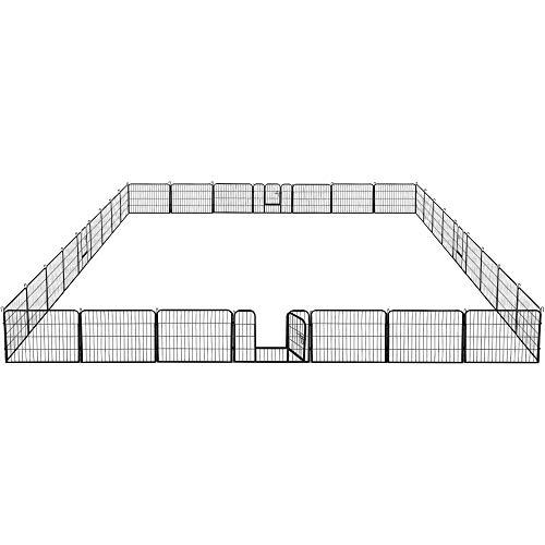 Yaheetech 32 eckig Welpenlaufstall Tierlaufstall Freigehege Welpenauslauf Hunde Laufstall je Panel 80 x 60 cm