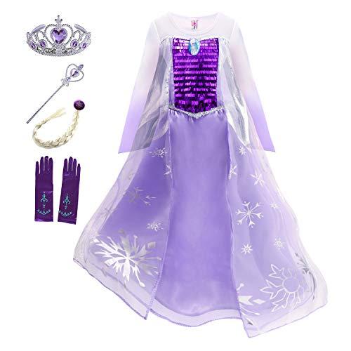 YOSICIL Princesa Disfraz de Princesa Frozen Elsa Disfraces de Princesa Manga Gradiente Fancy Dress Elasticidad nia Lentejuela Impreso Nieve Princesa Disfraz Accesorios con Capas 3-9 aos