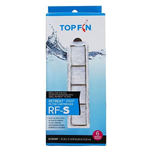 Top Fin Retreat RF-S Filter Cartridges (Small) Refill for Desktop Aquariums with Small Retreat Filters - 8.1in x 1.9in (6 Count)