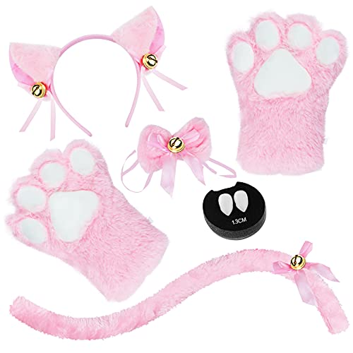 Abida Cat Cosplay Costume - 5 Pcs Cat Ear and Tail Set with Collar Paws Gloves and Vampire Teeth Fangs for Lolita Gothic Halloween-Pink