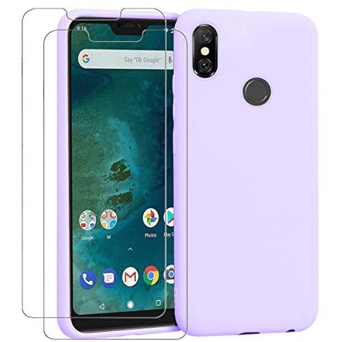 "Ingen - Funda para Xiaomi Mi A2 Lite + 2 Pack Protector de Pantalla, Funda Suave de Silicona Líquida con tapete de Microfibra Anti-Rasguño. para Xiaomi Mi A2 Lite 5.84"".Púrpura."