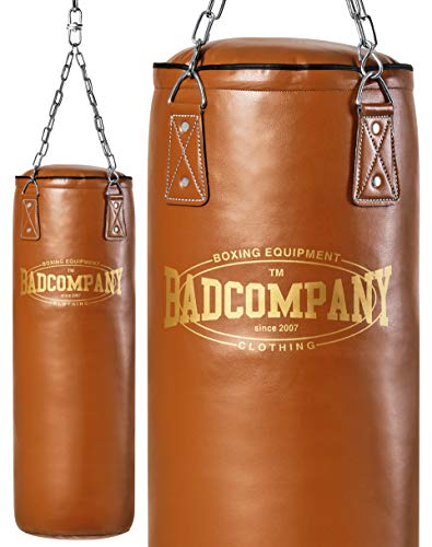 Bad Company Retro Boxsack I Punching Bag ungefüllt inkl. Heavy Duty Vierpunkt-Stahlkette - 180 x 35 cm