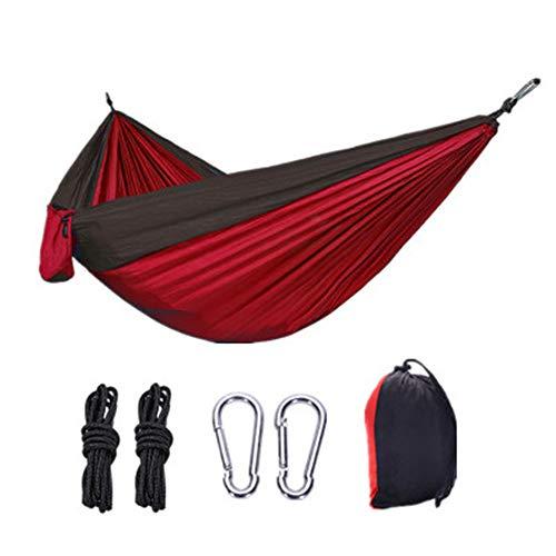 Hängematte, Camping Wandern Innenhofablage Hängendes Zelt 400 kg Klasse Fallschirm-Stoffhängematte Tragbar Superleichte übergroße Schaukel (270 * 140 cm) - rot + schwarz