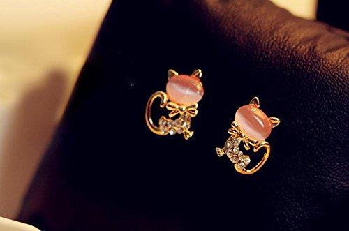 Moent Pendientes de tuerca para mujer, diseño de gato con piedra de cristal, para el día de San Valentín, aniversario, cumpleaños, regalo para su esposa, novia, color rosa