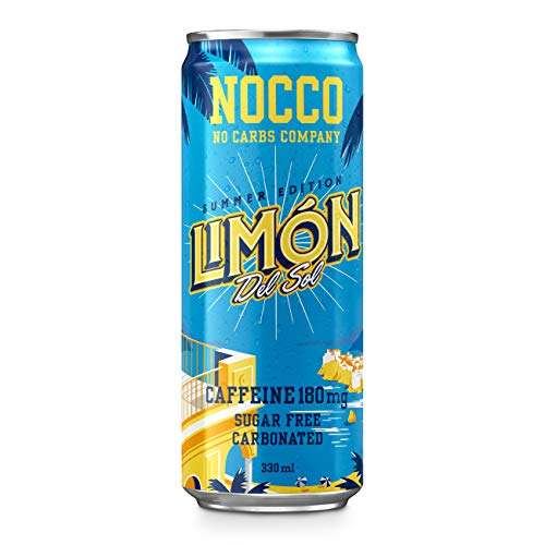 NOCCO BCAA Límon Del Sol | 12 x 330ml | Zero Sugar | Functional Energy Drink | No Carbs Company | Vitamin Enhanced with 180mg Caffeine | Flavoured Functional Drinks for Health, Fitness & Everyday