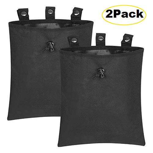 ALTBP Tactical Molle Drawstring Magazine Dump Pouch for Climbing, Hunting, Paintball Games, Hiking Hip Thigh Waist Pack Bag (Black,12'x10' 2Packs)