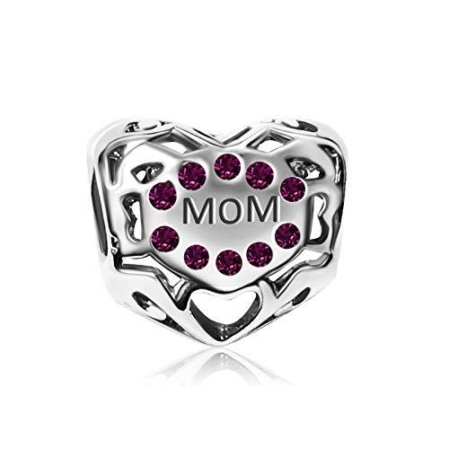 KunBead Love Heart Mother Mom February Purple Charms Bead For Bracelets