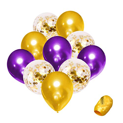 Purple and Gold Confetti Balloons 51pcs Premium 12 Inch Balloons for Baby Bridal Shower Birthday Party Decorations